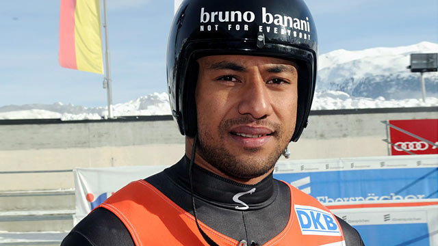 PHOTO: Bruno Banani of Tonga poses after his run during the mens single competition at the Luge World Cup in St. Moritz, Switzerland, Jan. 29, 2012.