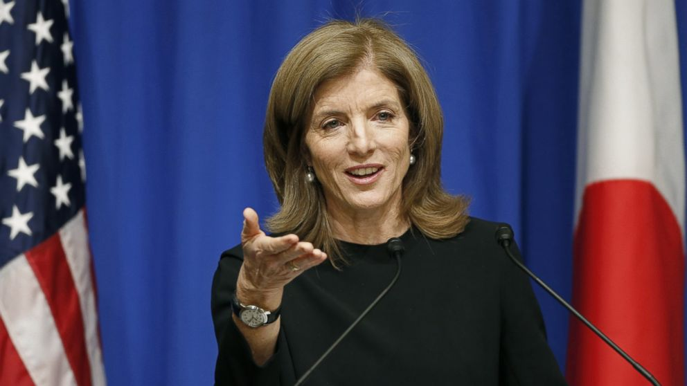 PHOTO: U.S. Ambassador to Japan Caroline Kennedy delivers a speech during a welcome luncheon hosted by the America-Japan Society and the American Chamber of Commerce in Japan, in Tokyo, Nov. 27, 2013.