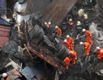PHOTO: Rescuers work at the accident site where an expressway bridge partially collapsed due to a truck explosion in Mianchi County, Sanmenxia, central Chinas Henan Province, Feb. 1, 2013.
