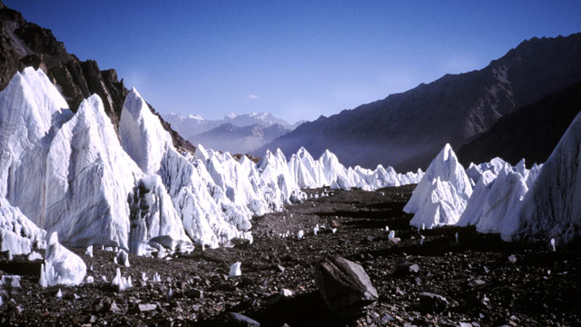 PHOTO: The glacier field is seen from the route to the North Ridge of K2 in the Xinjiang Province of China in this file photo.