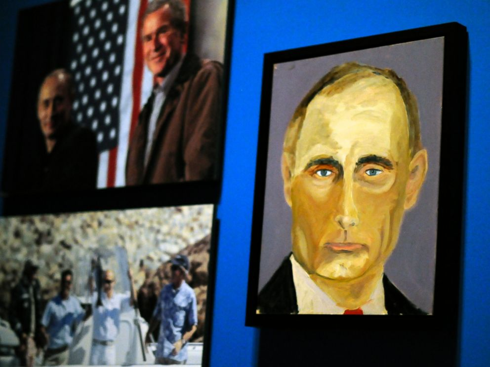 PHOTO: A portrait of Russian President Vladimir Putin which is part of the exhibit The Art of Leadership: A Presidents Diplomacy, are on display at the George W. Bush Presidential Library and Museum in Dallas, April 4, 2014.