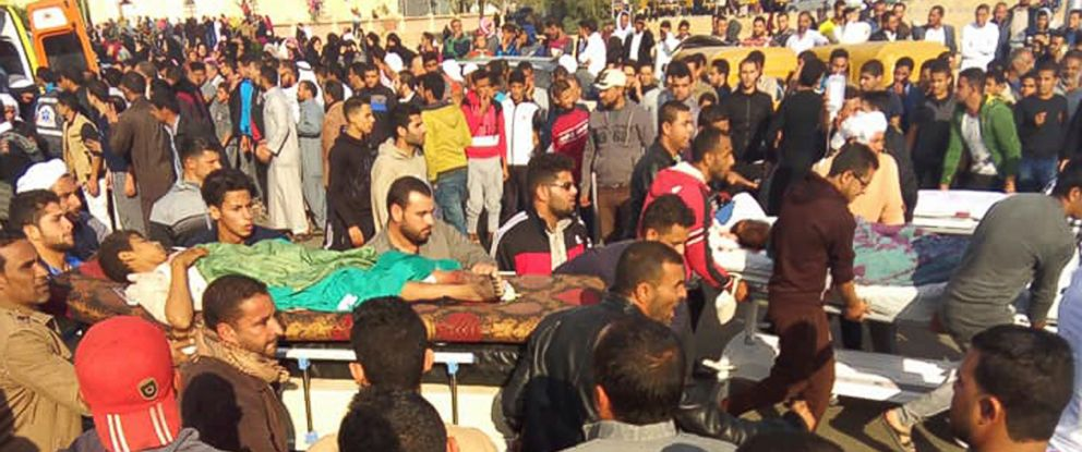 PHOTO: Injured people are evacuated from the scene of a militant attack on a mosque in Bir al-Abd in the northern Sinai Peninsula of Egypt on Friday, Nov. 24, 2017.