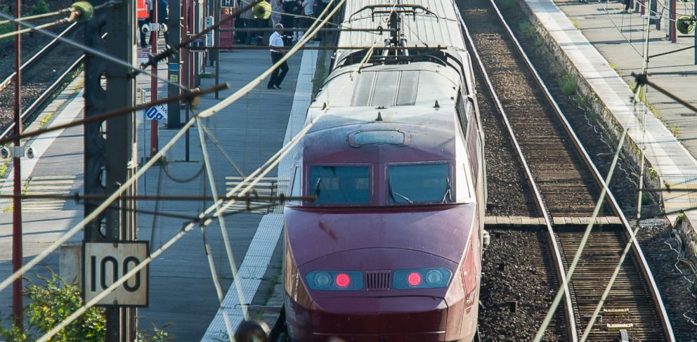 PHOTO: A Thalys train of French national railway operator, SNCF, stands at the main train station in Arras, northern France, after a gunman opened fire, Aug. 21, 2015.