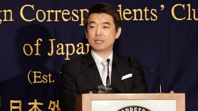 PHOTO: Osaka Mayor Toru Hashimoto speaks during a press conference at the Foreign Correspondents Club of Japan