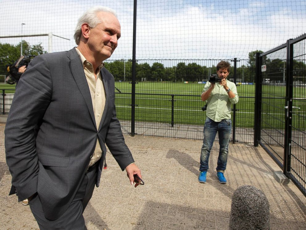 PHOTO: Mayor Pieter Broertjes arrives at a gathering in honor of two local victims of the downing of MH17 who belonged to a soccer club in Hilversum, Netherlands on July 19, 2014.