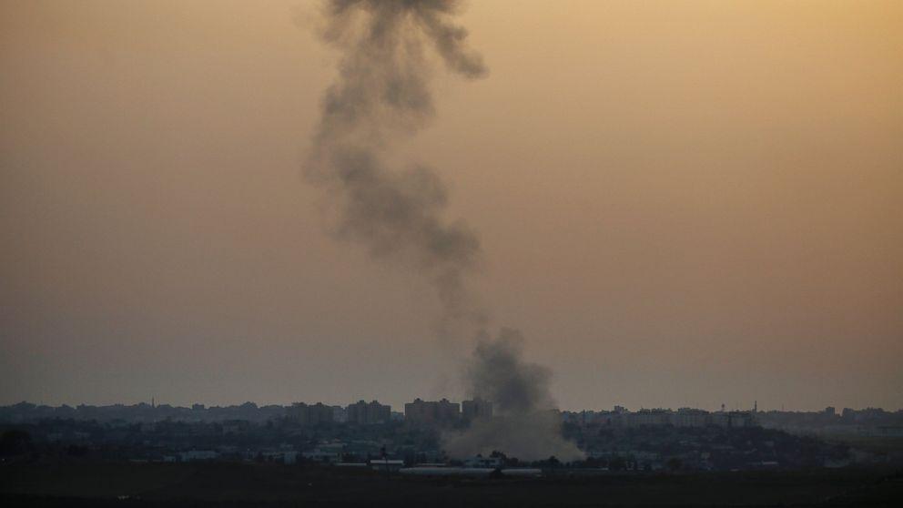 PHOTO: Smoke rises following an Israeli strike on Gaza, seen from the Israel-Gaza border, Saturday, July 12, 2014.
