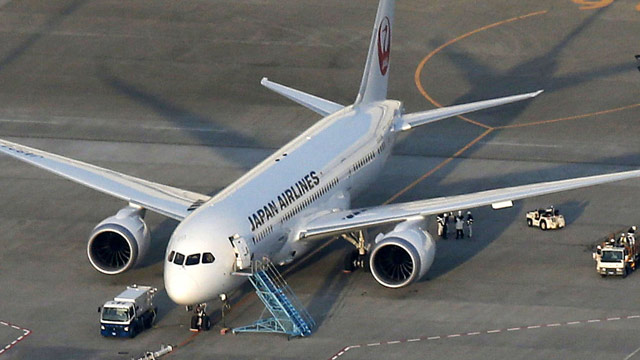 PHOTO: A Japan Airlines 787, from which fuel spilled at Bostons Logan International Airport last Tuesday, sits on the tarmac at Narita Airport in Narita, east of Tokyo, Sunday, Jan. 13, 2013.