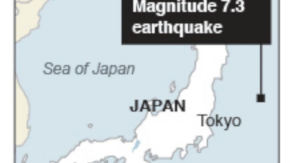 PHOTO: Map locates where a 7.3 magnitude earthquake struck off the coast of Japan on Oct. 25, 2013.