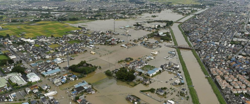 PHOTO: Houses are flooded due to heavy rain in Koshigaya, Saitama prefecture, near Tokyo, Sept. 10, 2015.