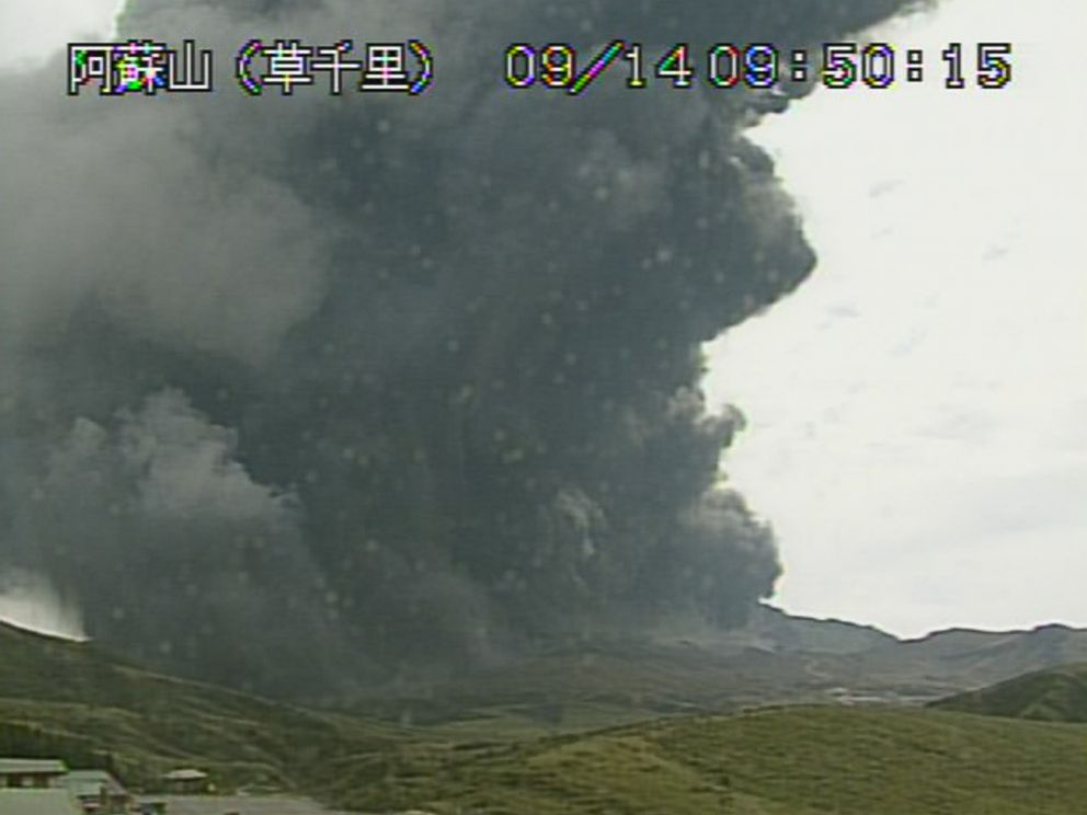 Japanese volcano erupts capturing ash into the sky and delaying flights