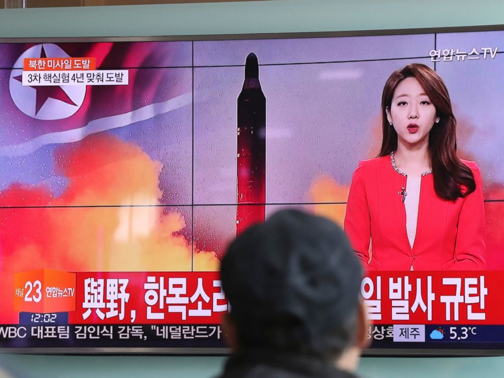 PHOTO: A man watches a TV news program reporting about North Koreas missile launch at the Seoul Train Station in Seoul, South Korea, Sunday, Feb. 12, 2017.