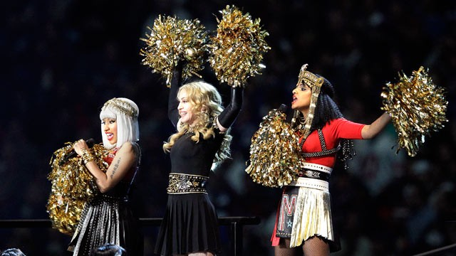 PHOTO: Madonna, center, performs with Nicki Minaj, left, and M.I.A. during halftime of the NFL Super Bowl XLVI football game between the New England Patriots and the New York Giants, Feb. 5, 2012, in Indianapolis.