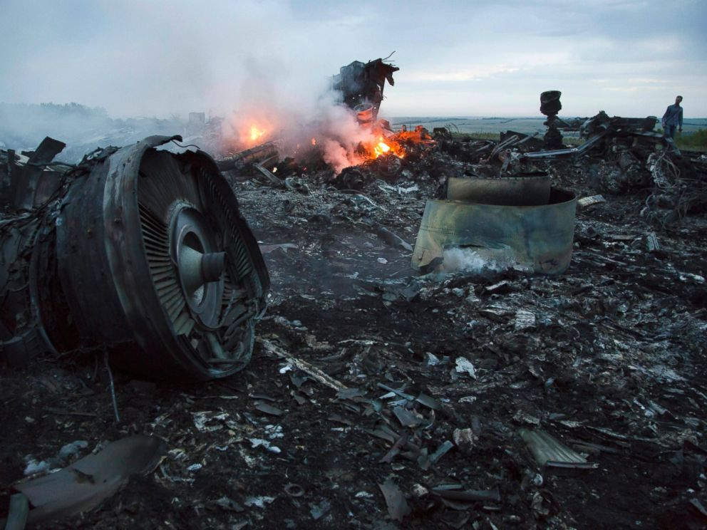 PHOTO: A man walks amongst the debris at the crash site of a passenger plane Malaysia MH17 near the village of Hrabove, Ukraine, July 17, 2014.