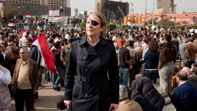 PHOTO: Journalist Marie Colvin is seen photographed in Tahrir square in Cairo in this undated file photo.