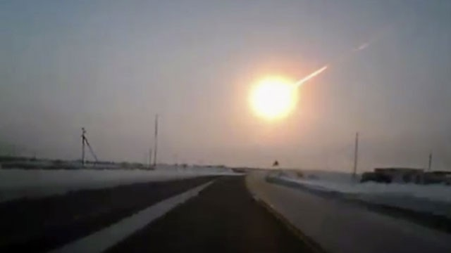 PHOTO: In this frame grab made from a video done with a dashboard camera, on a highway from Kostanai, Kazakhstan, to Chelyabinsk region, Russia, provided by Nasha Gazeta newspaper, on Friday, Feb. 15, 2013 a meteorite contrail is seen.