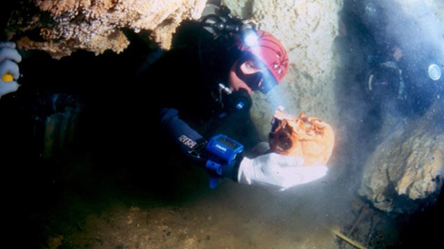 PHOTO: A diver holds a skull belonging to a woman, known as La Mujer de las Palmas, who lived between 10,000 and 12,000 years ago, in Tulum, Mexico.