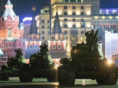 PHOTO: World War II era Soviet tanks make their way through the Red Square during a rehearsal for the Victory Day military parade in Moscow, May 5, 2015.