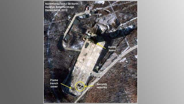 PHOTO: This Dec. 4, 2012 file satellite image taken by GeoEye, and annotated and distributed by North Korea Tech and 38 North shows the Sohae Satellite Launching Station in Tongchang-ri, North Korea.