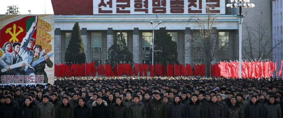 PHOTO: Thousands of North Koreans gather at the Kim Il Sung Square, Jan. 6, 2015 in Pyongyang, North Korea, to rally in support of their leader Kim Jong Uns new year address to his country.