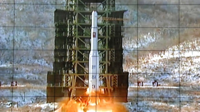 PHOTO: A screen at the General Satellite Control and Command Center shows the moment North Korea's Unha-3 rocket is launched in Pyongyang, North Korea,  Wednesday, Dec. 12, 2012.