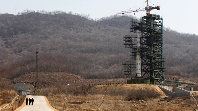 PHOTO:North Korea's Unha-3 rocket, slated for liftoff between April 12-16, stands at Sohae Satellite Station in Tongchang-ri, North Korea, April 8, 2012.