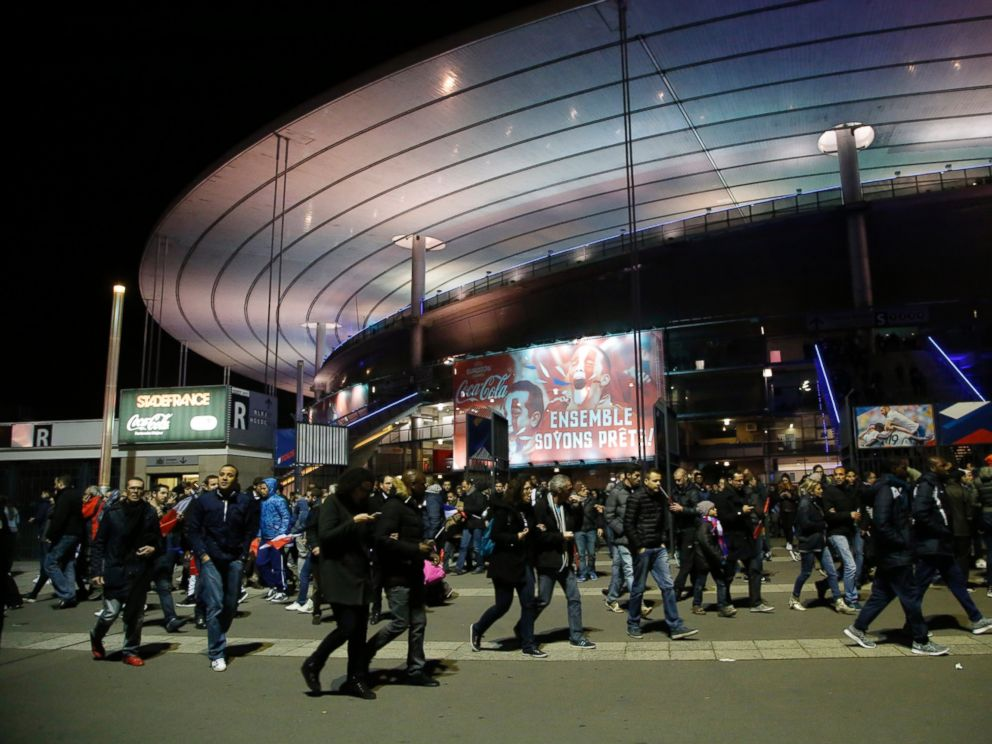 PHOTO: People leave the Stade de France stadium after the international friendly soccer France against Germany, Nov. 13, 2015 in Saint Denis, outside Paris.