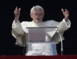 PHOTO: Pope Benedict XVI waves to the faithful during the Angelus noon prayer he celebrated from the window of his studio overlooking St. Peters square at the Vatican, Sunday, Feb. 17, 2013.