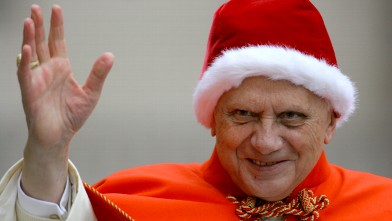 PHOTO: In this Dec. 21, 2005 file photo, Pope Benedict XVI, sporting a fur-trimmed hat called a camauro, waves to pilgrims upon his arrival in St. Peter's Square at the Vatican for his weekly general audience.