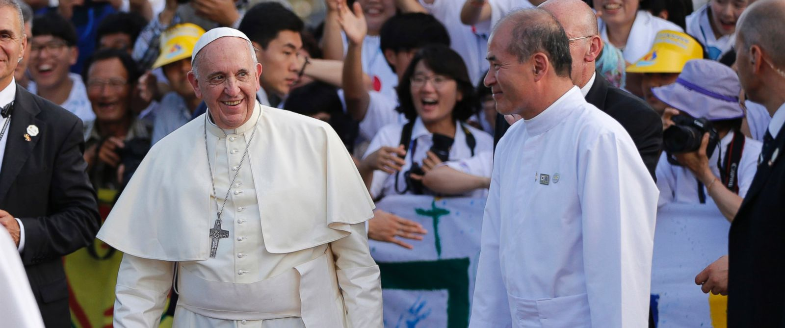 PHOTO: Pope Francis smiles as he is greeted by Catholic faithfuls upon his arrival at the birthplace of Saint Kim Taegon Andrea, also known as Saint Andrew Kim Taegon, the first Korean-born Catholic priest in Dangjin, South Korea, Aug. 15, 2014.