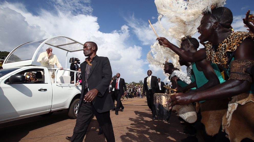 Pope Francis Greeting by Cheering Crowd of 150,000 in Uganda