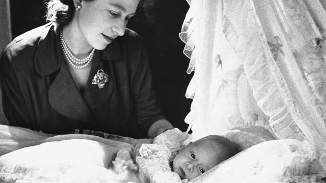 PHOTO: Princess Elizabeth admires her infant son, Prince Charles Philip Arthur George of Edinburgh, at Buckingham Palace, Dec. 23, 1948, London, England.