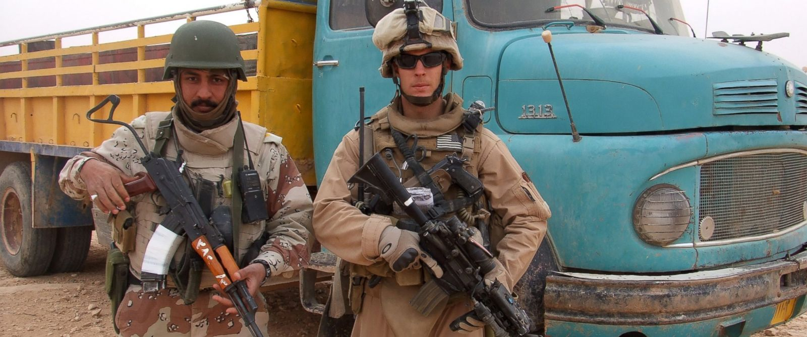 PHOTO: This 2007 photo provided by Chase Millsap shows Millsap with the Captain standing next to a suspected truck bomb following a successful raid in Al Anbar, Iraq.