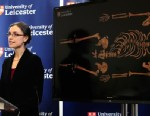 PHOTO: Jo Appleby, a lecturer in Human Bioarchaeology, at University of Leicester, School of Archaeology and Ancient History, who led the exhumation of the remains found during a dig at a Leicester car park, speaks at the university, Feb. 4, 2013.