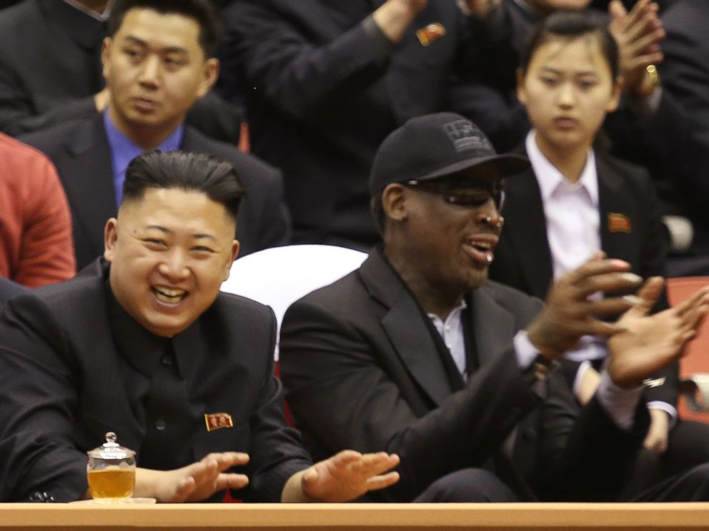 PHOTO: North Korean leader Kim Jong Un, left, and former NBA star Dennis Rodman watch North Korean and U.S. players in an exhibition basketball game at an arena in Pyongyang, North Korea, Feb. 28, 2013.
