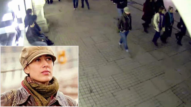PHOTO: In this undated image made from a CCTV video released by Turkish police, Jan. 29, 2013, a woman identified by police as Sarai Sierra walks outside a s