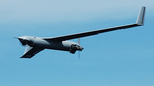 PHOTO: A ScanEagle, unmanned aircraft, is shown in flight.