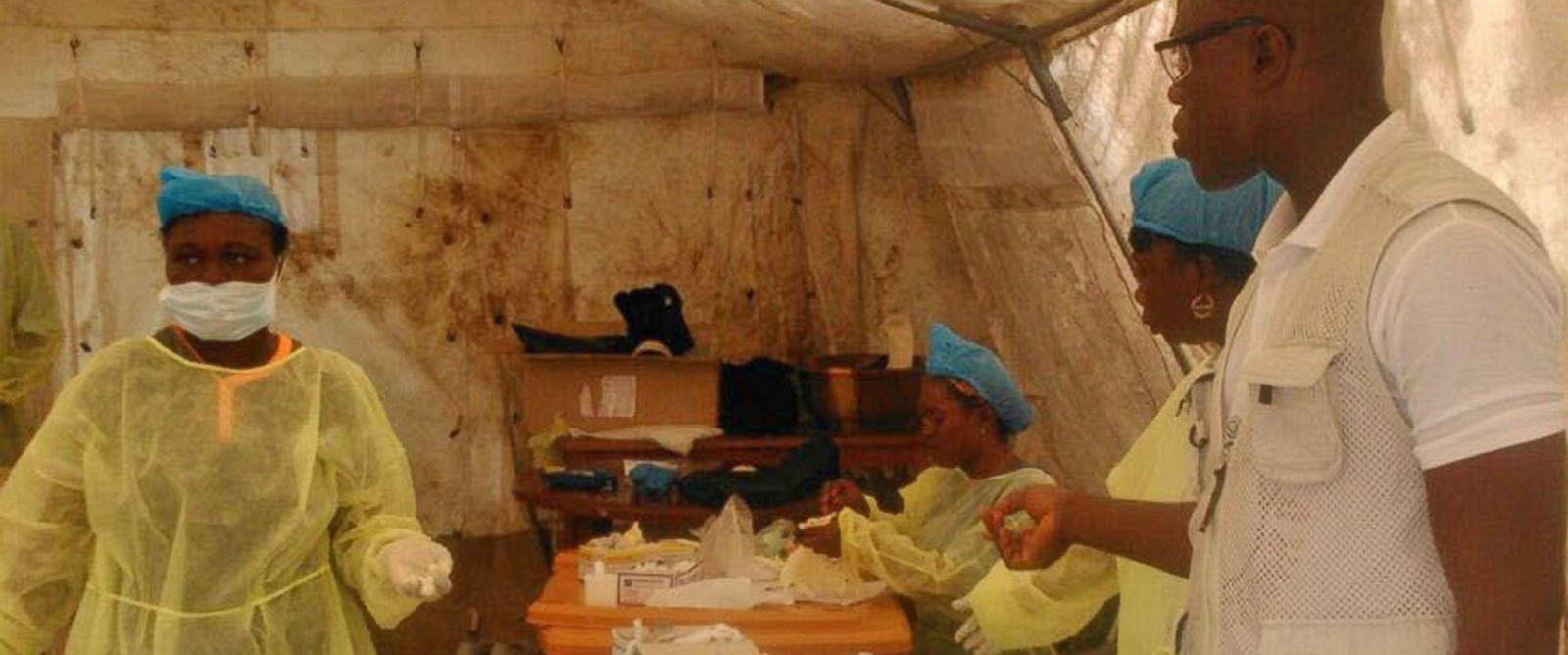 PHOTO: In this photo taken on July 27, 2014, medical personnel work at the Doctors Without Borders facility in Kailahun, Sierra Leone.
