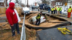 Sinkhole in Suburban DC Captures Car