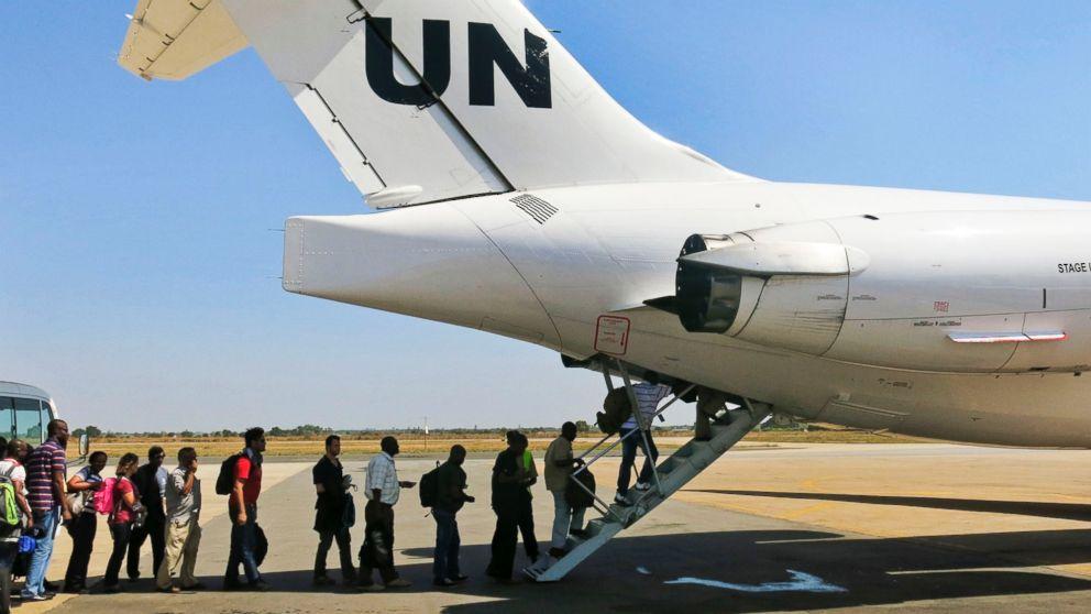 PHOTO: On Dec. 22, 2013, the United Nations Mission in South Sudan relocates non-critical staff from Juba, South Sudan, to Entebbe, Uganda.