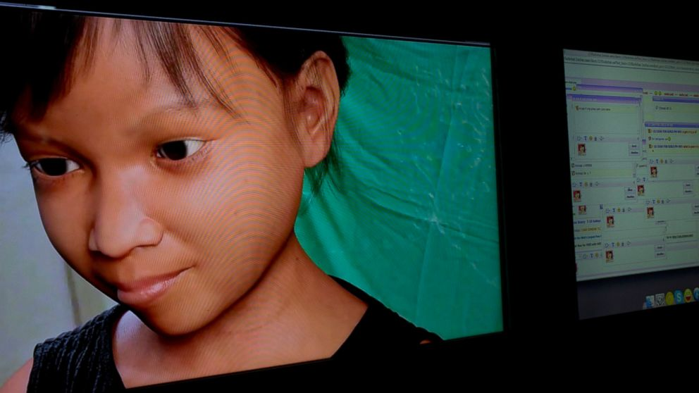 PHOTO: People solicit a purported 10-year-old girl named Sweetie from the Philippines, shown in a computer-generated image, left, through a public chat room, right, while actually chatting to a Terre des Hommes researcher in Amsterdam, Netherlands
