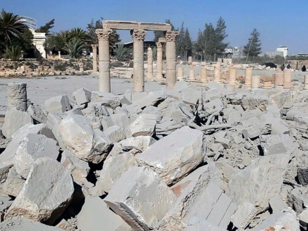 PHOTO: An undated photo released Aug. 25, 2015 on a social media site used by Islamic State militants purports to show the demolished 2,000-year-old temple of Baalshamin in Syrias ancient caravan city of Palmyra.