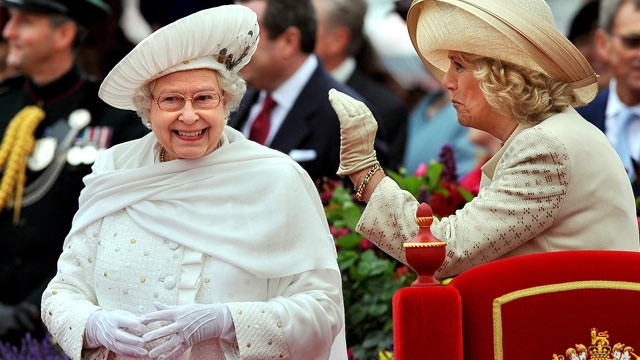 PHOTO: Britain's Queen Elizabeth II, left, and Camilla, Duchess of Cornwall, speak while on the royal barge during the Diamond Jubilee Pageant on the River Thames in London, June 3, 2012.