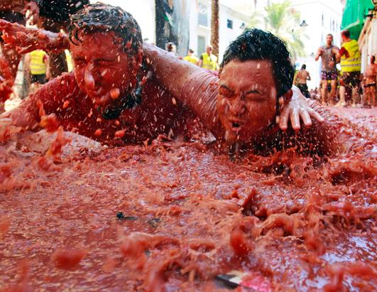 "The Annual ""Tomatina"" Tomato Fight Fiesta"