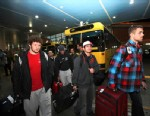 PHOTO: U.S. freestyle wrestling team members arrive at the Imam Khomeini airport in Tehran, Iran, early Feb. 19, 2013, to attend World Cup tournament.