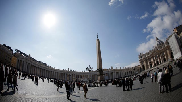 PHOTO: People walk in St. Peter's Square at the Vatican, March 3, 2013.