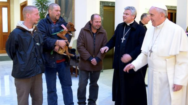 ap vatican pope francis birthday wy 131217 16x9 608 Pope Celebrates 77th Birthday With the Homeless, Including a Dog