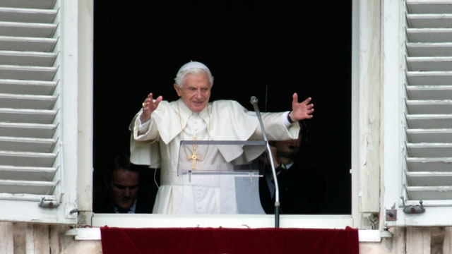 PHOTO: Pope Benedict XVI delivers his blessing during his last Angelus noon prayer, from the window of his studio overlooking St. Peters Square, at the Vatican, Sunday, Feb. 24, 2013.