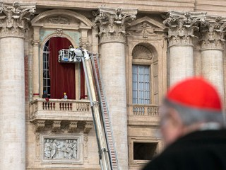 Red Drapes Readied for New Pope