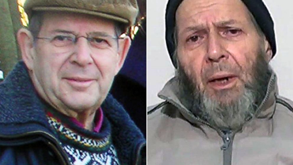 PHOTO: Warren Weinstein is shown in a Jan. 6, 2009 photo, left, and in a still from video released anonymously to