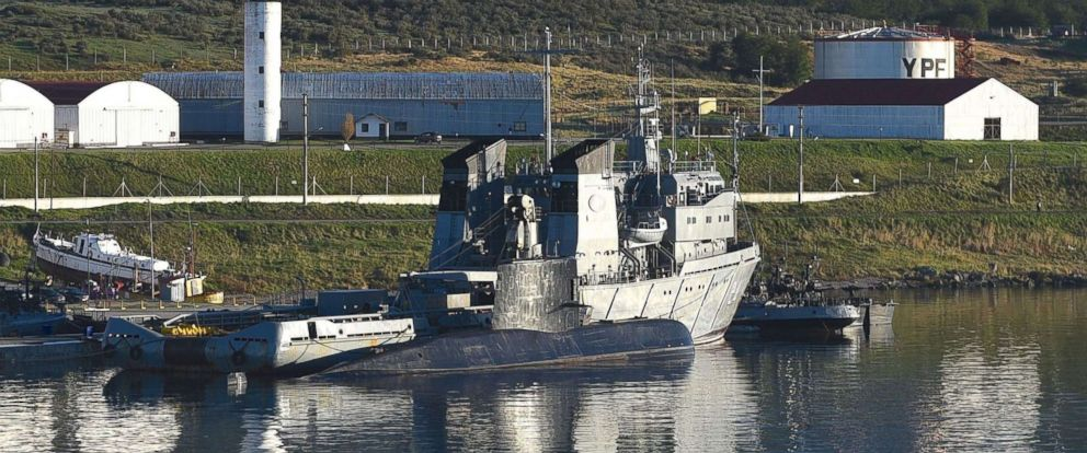 PHOTO: Argentinian submarine, the ARA San Juan in the port of Ushuaia, Argentina, Nov. 6, 2017, just a few days before it went missing at sea.